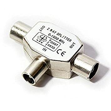 Duplicador splitter divisor ladron de dos vias para Señal de cable coaxial de radio y television TV digital 2384: Amazon.es: Electrónica