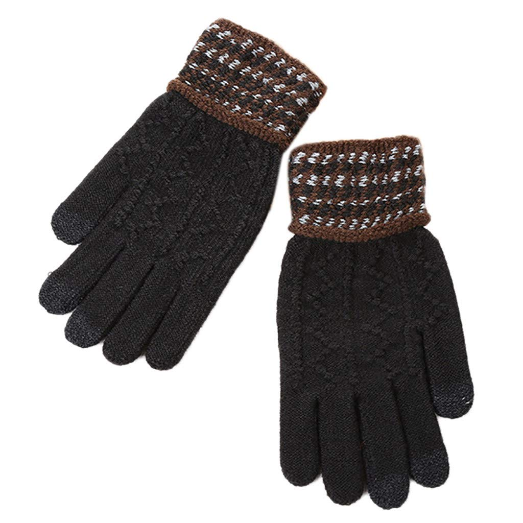 Winter Touch Screen Gloves VigorY Woman Thick Windproof Gloves Mittens(Black,one size)