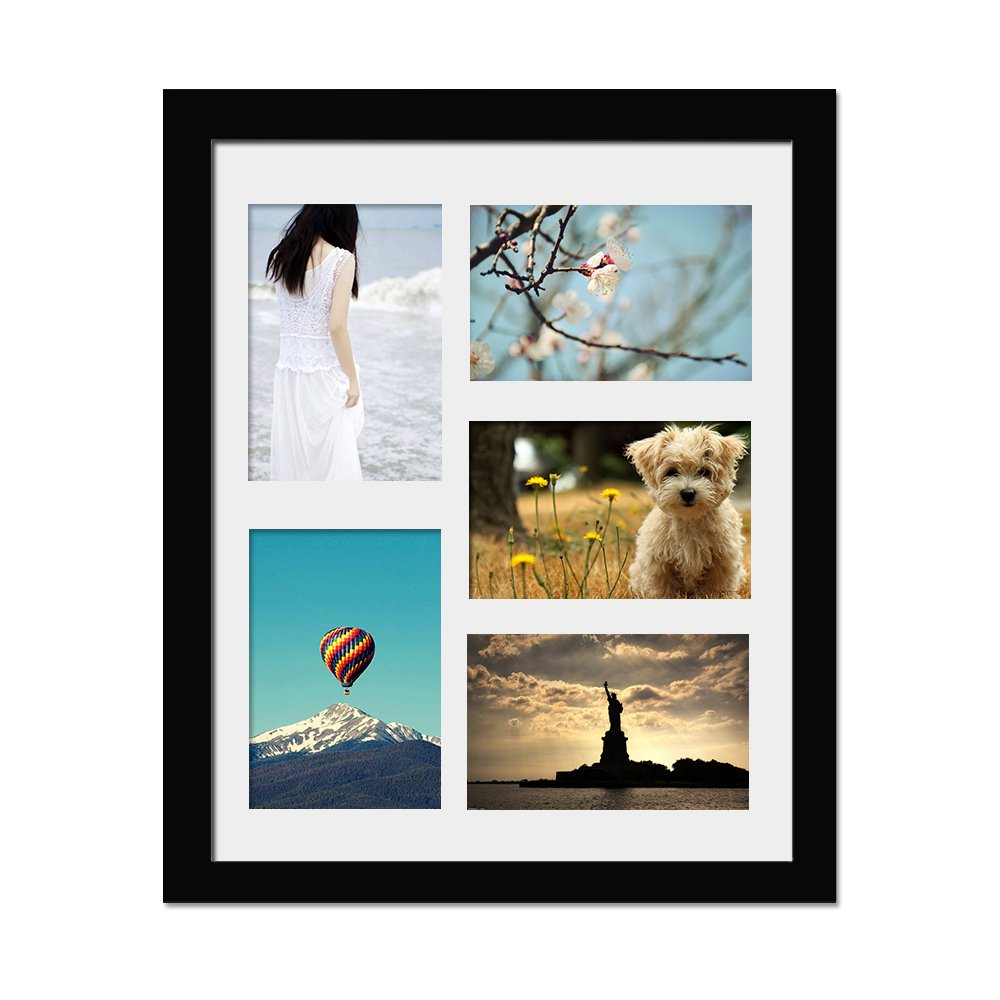 11x14 Picture Frame, Alotpower Multiple Wall Hanging Picture Frame Displays Five 4x6 with Mat with Glass Front,Black