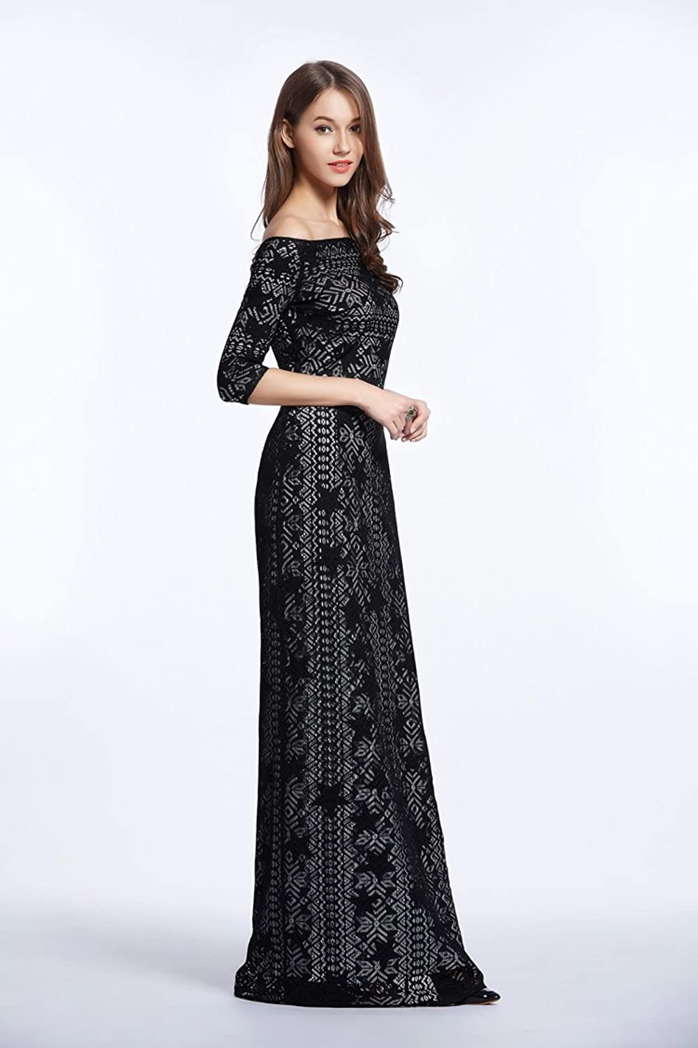 Trendence Fashion Sexy A word Shoulder Elegant High-end Lace Long sleeve Hit Ground Evening Party Dress