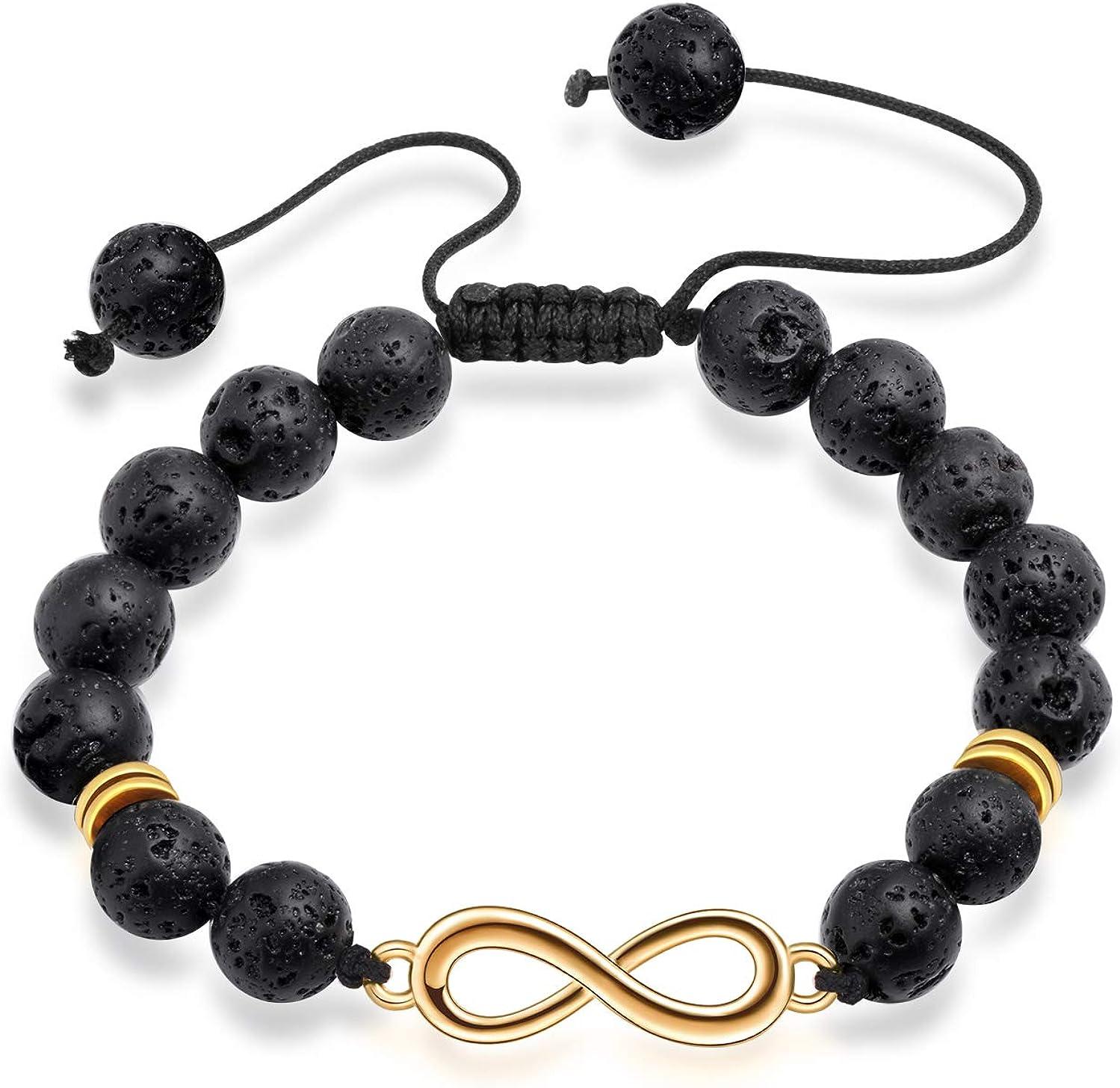 Bracelet en Alliage avec Symbole Infini INFINIONLY Bracelet de la Mode en Perles de Pierre volcanique pour Hommes Cadeau de No/ël ou danniversaire Cha/îne r/églable 18-20cm