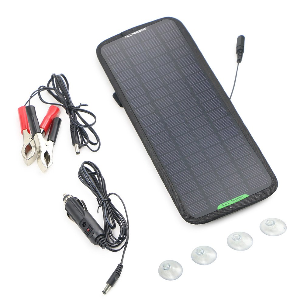 ALLPOWERS 18V 5W Portable Solar Car Battery Charger Bundle with Cigarette Lighter Plug, Battery Charging Clip Line, Suction Cups & Manual by ALLPOWERS (Image #7)