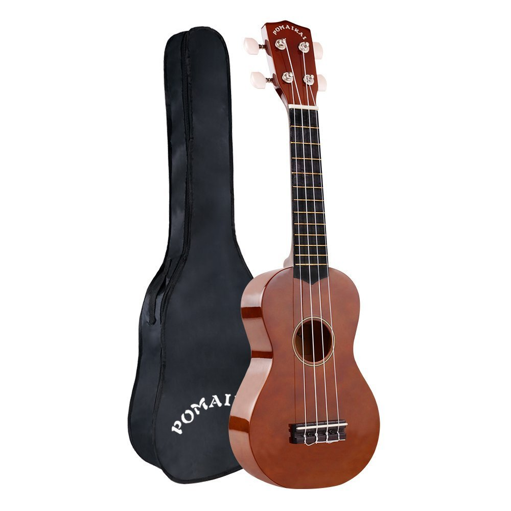POMAIKAI Soprano Ukulele 21 Inch with Gig Bag for kids Students and Beginners (Soprano, Brown)