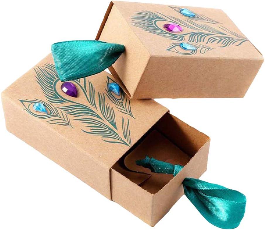 Vosarea 50 Cajas de Papel Kraft para Dulces, Plumas de Pavo Real, cajón, Caja de Regalo para Bodas, Fiestas: Amazon.es: Hogar
