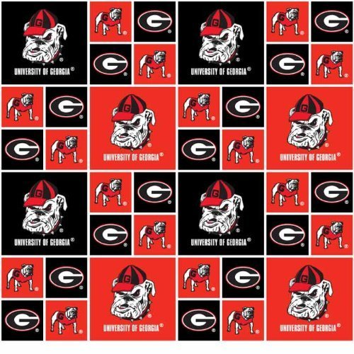 UNIVERSITY OF GEORGIA BULLDOGS COTTON FABRIC-100% COTTONGEORGIA BULLDOGS FABRIC SOLD BY THE YARD-GEORGIA BULLDOGS COTTON #20 SYKEL by Field