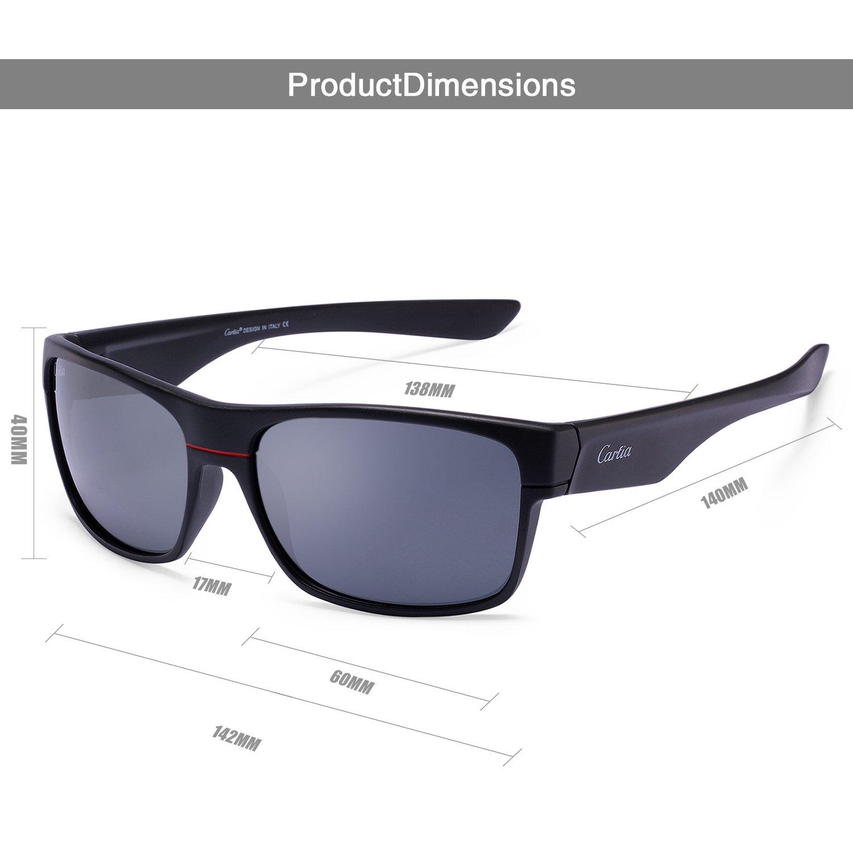 dc172aca75 Carfia Polarizadas de los Hombres Gafas de sol para la Conducción Deportiva  Viaje, Cristales Polarizados 100% Anti-UV (Marco negro con lente gris): ...