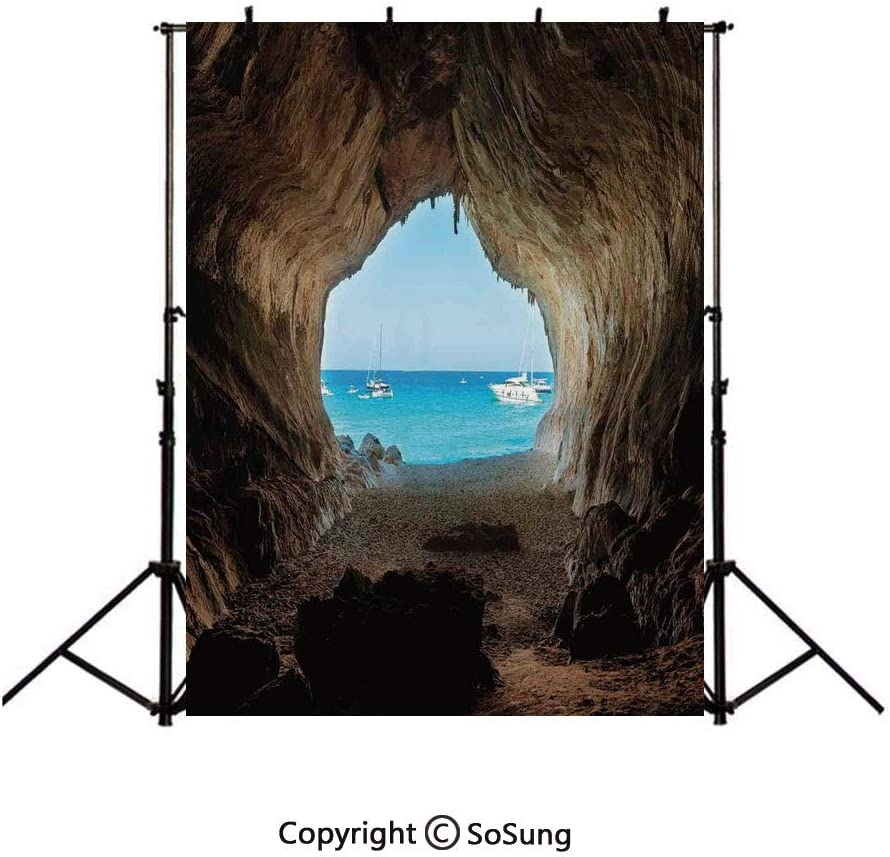 9x16Ft Vinyl Natural Cave Decorations Backdrop for Photography,Hidden Hole Spot in the Rocks by the Ocean Exotic Sunset Reflection Sky Scene Background Newborn Baby Photoshoot Portrait Studio Props Bi