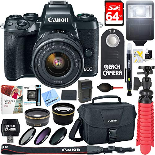 Cheap Canon EOS M5 Mirrorless Black Digital Camera w/ 15-45mm IS STM Lens + 64GB Memory Card + Camera Bag + 0.43x Wide Angle + 2.2x Telephoto Lens Converter + 49mm Filter Kit + Microfiber Cloth+Tripod+More