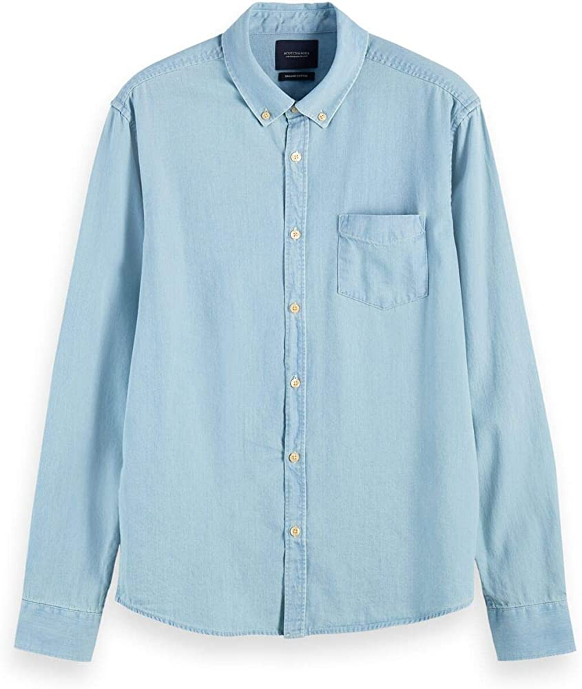 Scotch & Soda AMS Blauw 1 Pocket Organic Denim Shirt with Patterned Pochet Camisa, Bleached Indigo 0727, S para Hombre: Amazon.es: Ropa y accesorios