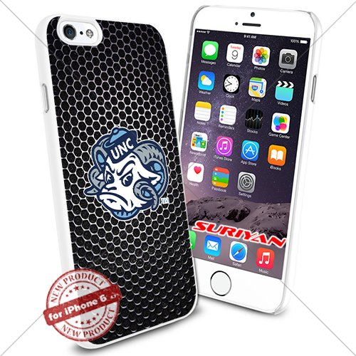 North Carolina Black Leather - New iPhone 6 Case North Carolina Tar Heels Logo NCAA #1385 White Smartphone Case Cover Collector TPU Rubber [Black Net]