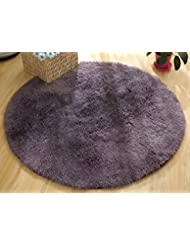 6Ft Round Microfiber Shag Bathroom Mat,Non Slip Soft Absorbent Kitchen  Floormat Bath Rug