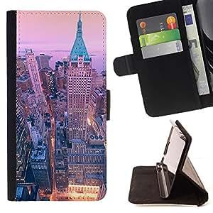 BullDog Case - FOR/Samsung Galaxy S6 / - / 40 wall street new york city skyline /- Monedero de cuero de la PU Llevar cubierta de la caja con el ID Credit Card Slots Flip funda de cuer