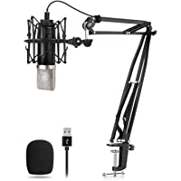 TONOR USB Microphone Kit, TC-2030 Condenser Microphone 24mm Large-Diaphragm 192kHz/24Bit Plug & Play Professional Computer Mic for Recording, Podcast, studio, gaming, Streaming, broadcasting