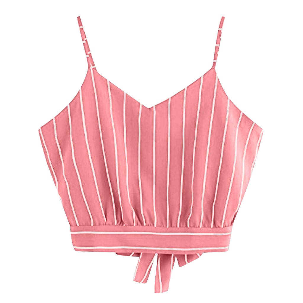 Women's Self Tie Back V Neck Crop Cami Top Striped Bow-Knot Camisole Pink