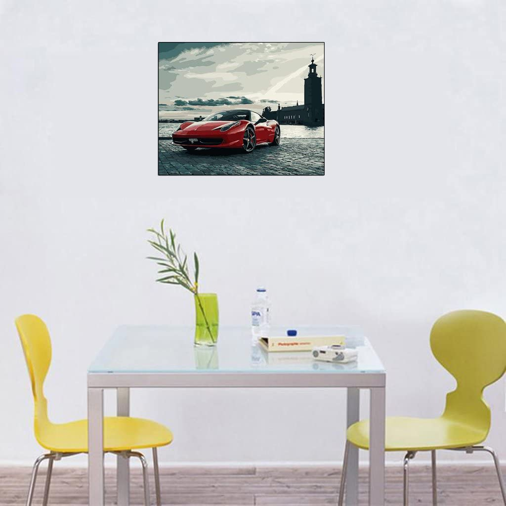 Paint By Numbers Acrylic Drawing On Canvas for Adults and Kids Home Office Decor vivitoch Car Unframed Oil Painting