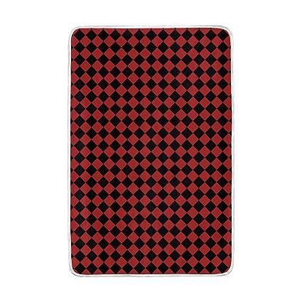 c1d09b900093 Amazon.com: Lilibeely Ultra Soft Microplush Velvet Black Red ...