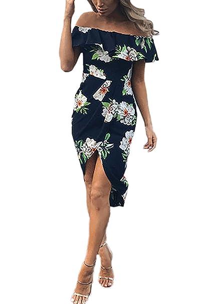 Vestidos Mujer Verano Casual Vintage Bohemio Flores Impresa Estilo Etnica Elegantes Cuello Barco Volantes Ajustado Asimetricas