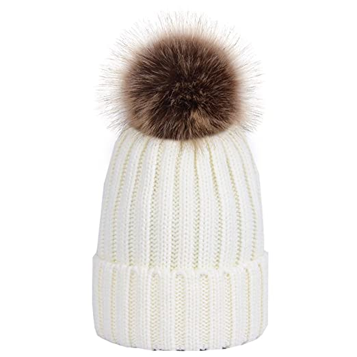 7e57ca08502a7 Amazon.com  SURPCOS Winter Knitted Hat Women Pom Pom Beanie Hat (Red)   Clothing