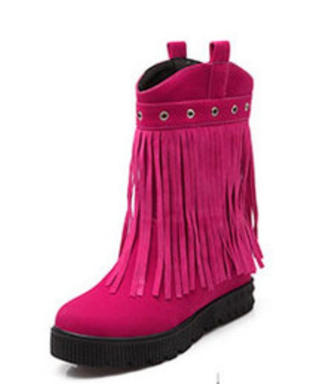 Kitzen Damen-Veloursleder Stiefel High Heel Pumps Quaste Runde Kopf Party Dress  38 EU Pink