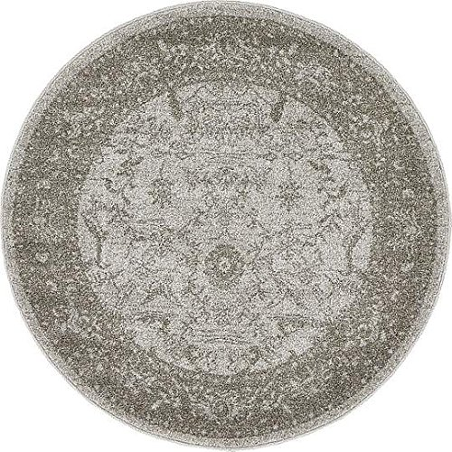 Unique Loom La Jolla Collection Light Gray 3 ft Round Area Rug (3' 3