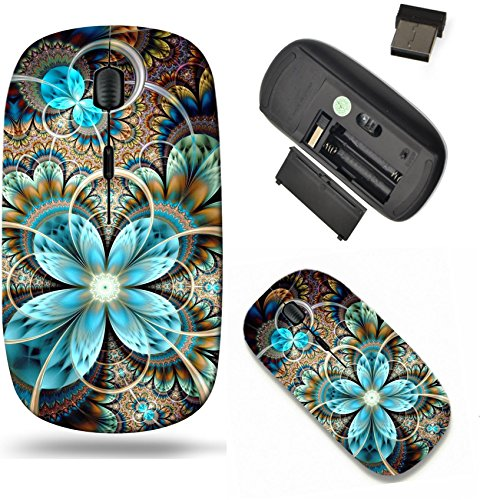 Flower Mouse (Liili Wireless Mouse Travel 2.4G Wireless Mice with USB Receiver, Click with 1000 DPI for notebook, pc, laptop, computer, mac book ID: 25702475 Dark yellow fractal flower digital artwork graphic)