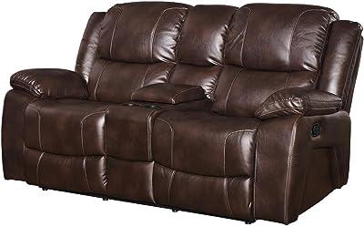 NCF Furniture Kane Dual Power Motion Recliner Loveseat In Premier Brown