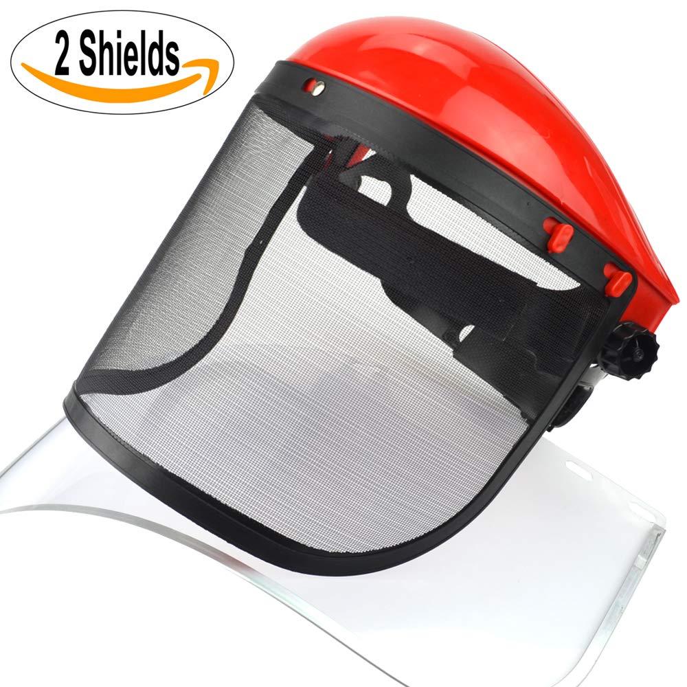 Clear + Mesh Full Visor Flip Up Face Shield Screen Safety Mask Eye Protector (Red) DSL