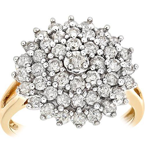 Bague Femme - Or jaune (9 carats) 3.807 Gr - Diamant 1.5 Cts