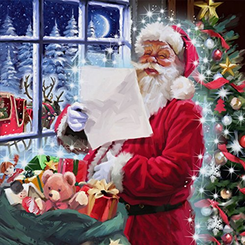 Wall Santa Claus (TianMai Hot New DIY 5D Diamond Painting Kit Crystals Diamond Embroidery Rhinestone Painting Pasted Paint By Number Kits Stitch Craft Kit Home Decor Wall Sticker - Santa Claus, 25x25cm)