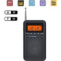 Lychee Radio de Bolsillo Portátil Multifuncional Am/FM Radio Pequeña DSP Digital Tuning Receptor con Altavoz, Reloj Despertador y Temporizador para Dormir