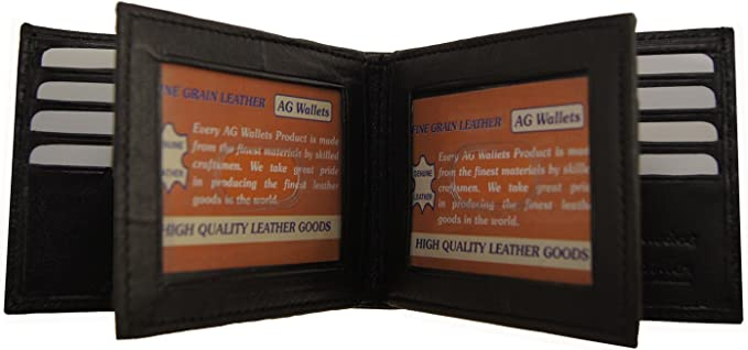 "Men/""s Wallet,Genuine Leather 3 ID/'s multi Cards 2 Center Flap Bestseller Bifold"
