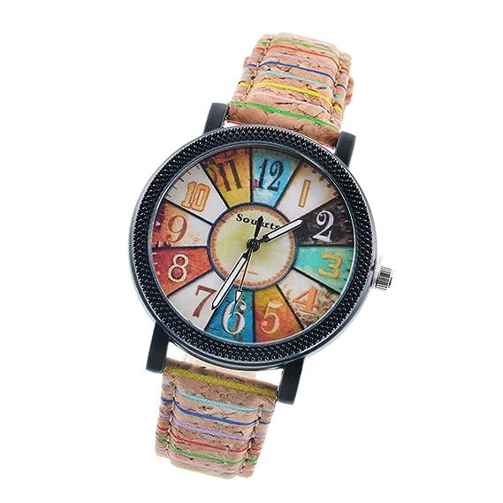 Duseng - Reloj vintage de cuarzo para mujer con correa de piel exótica. Modelo con