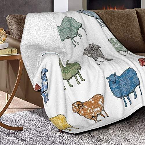 Baa Humbug Sarah Hough Couverture polaire ultra douce et moelleuse pour canapé lit et salon 127 x 101,6 cm