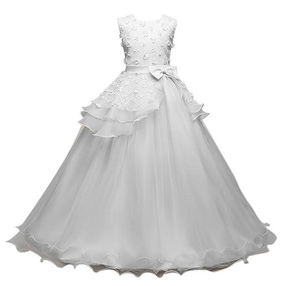 5e6ae90cfbb8d Ai.Moichien Filles Princesse Robe Fleur Dentelle Robe