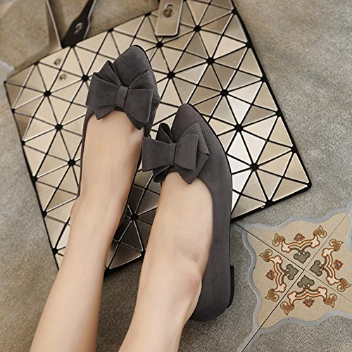 T-july Flats Shoes Per Donna Casual Punta A Punta Balletto Comfort Bowk-not Dress Slip On Grey