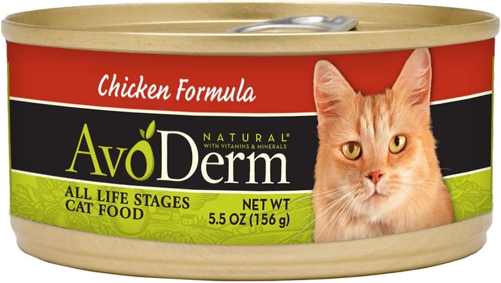 AvoDerm Natural Chicken Wet Canned Cat Food, Case of 24