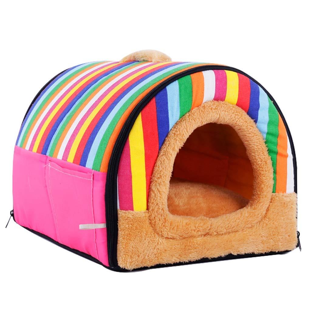 Rainbow M303025cm Rainbow M303025cm Mjd lamp lamp Rainbow Pet Wo Teddy Kennel Dog Supplies Dog Mat Detachable House (color   Rainbow, Size   M3030  25cm)