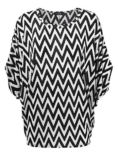 - Made By Johnny MBJ Womens Round Neck 3/4 Sleeves Printed Dolman Top XXL White_Black