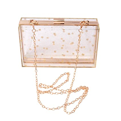68bc603785 WEDDINGHELPER Women Acrylic Transparent Gold Star Evening Bags Purses  Clutch Vintage Banquet Handbag (Transparent)
