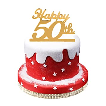 Golden 50th Birthday Cake Topper50th Party Decoration50th Acrylic Topper