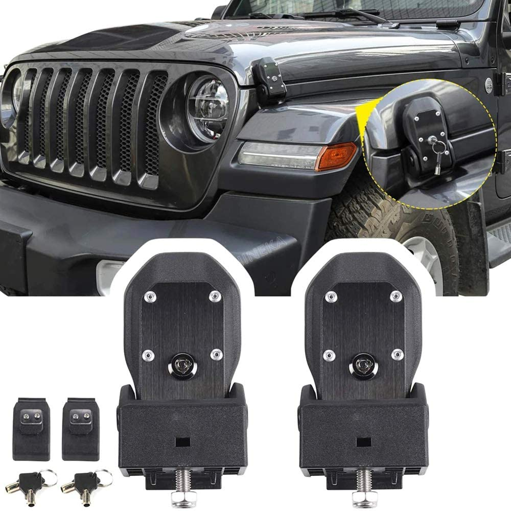 Drizzle JL Hood Latches Hood Lock Catch Kit 2007-2018 Jeep Wrangler JL (Black)
