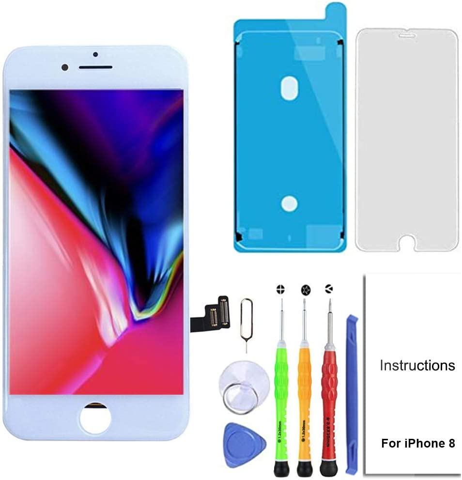for iPhone 8 LCD Screen Replacement 4.7 inch White, 3D Touch Screen Display Digitizer Repair Kit Assembly with Waterproof Adhesive,Tempered Glass,Tools and Instruction