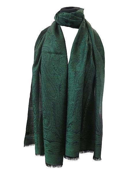 nuovo stile efc0b e2da6 stola lana-seta jacquard disegno cachemire trama nera verde ...