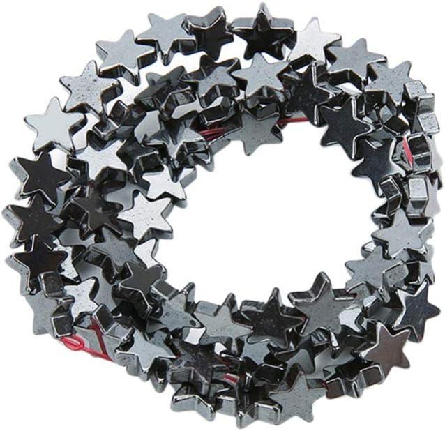 Milisten Cuentas Sueltas de Estrellas Cuentas de Piedras Preciosas de Hematita para La Fabricación de Joyas Cuentas Espaciadoras de Metal para Manualidades de Bricolaje (Negro 8Mm 48 Granos)