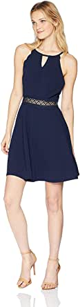 A. Byer Junior's Young Woman's Teen Fit and Flare Dress with Illusion Waist
