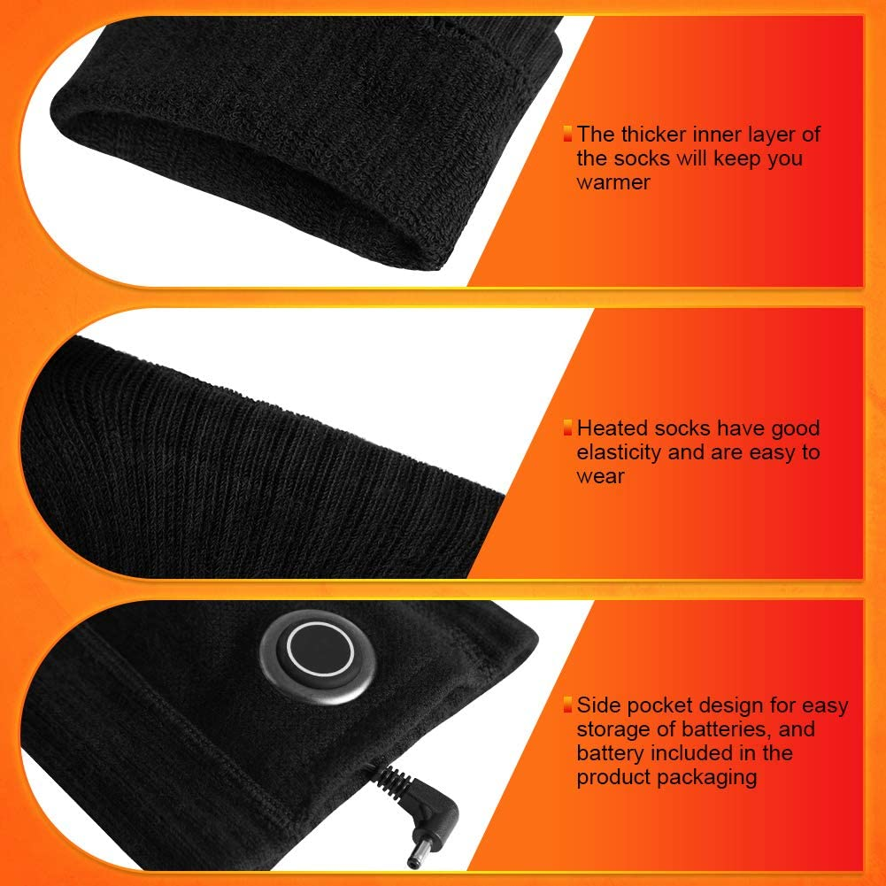 Electricl Cold Foot Warmers for Fishing Motorcycle Cycling Camping Indoors Outdoor Rechargeable Battery Washable Thermal Heating Socks with 3 Levels Heat Settings Fasola Heated Socks for Men Women