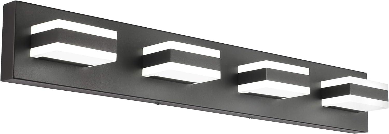 Solfart Led Modern Matt Black Bathroom Vanity Lights Over Mirror 4 Lights Acrylic Bath Wall Lighting S8568 4 Lights Amazon Com