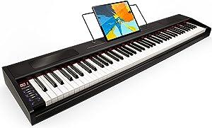 Souidmy G-110W Beginner Digital Piano, 88 Key Full-Size Semi Weighted Keyboard, Portable Keyboard Piano with Keyboard Bag - Wooden