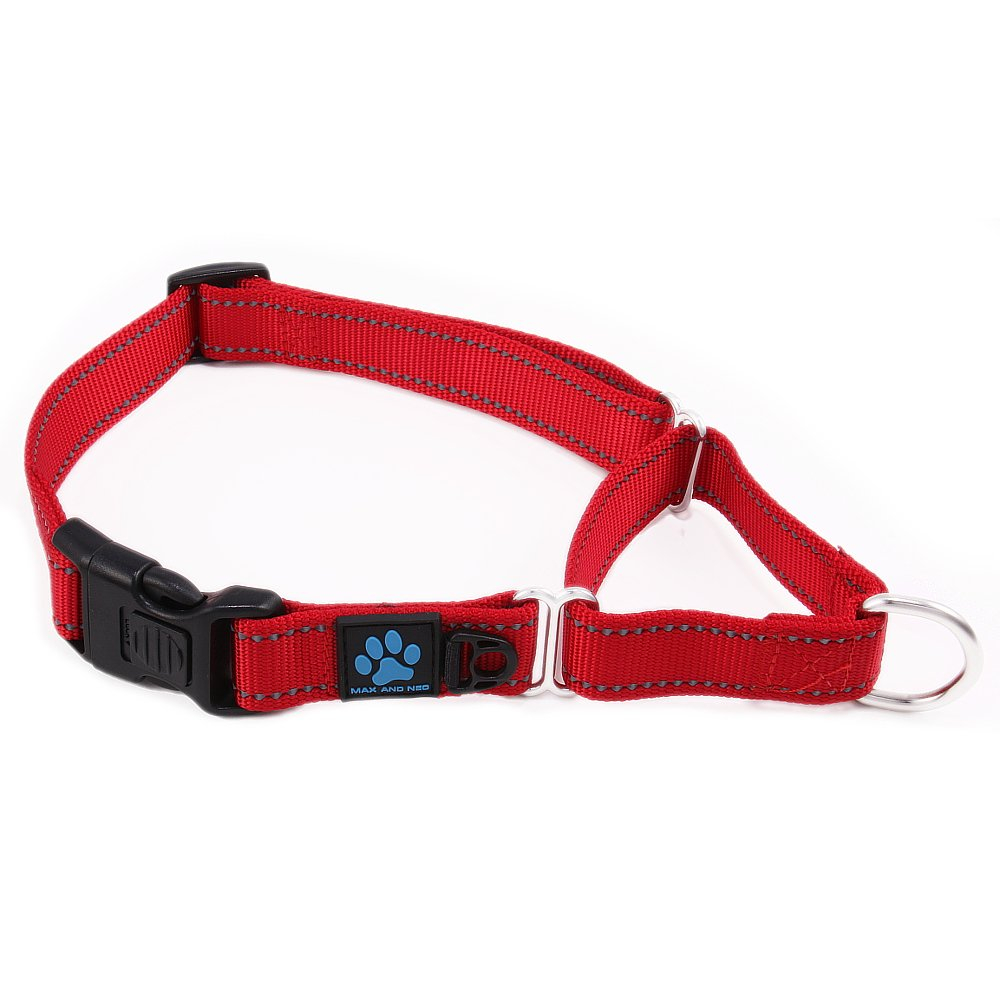 Max and Neo Nylon Martingale Collar - We Donate a Collar to a Dog Rescue for Every Collar Sold (MEDIUM/LARGE, RED)