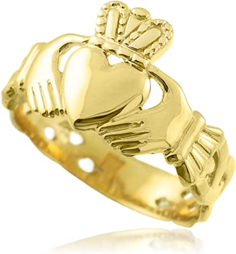 4 Bold 14k White Gold Mens Trinity Knot Band Irish Claddagh Ring